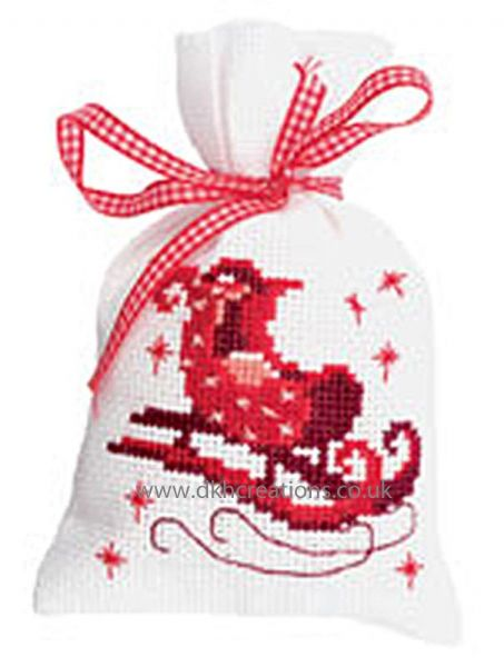 Santas Sleigh Pot Pourri Bag Cross Stitch Kit